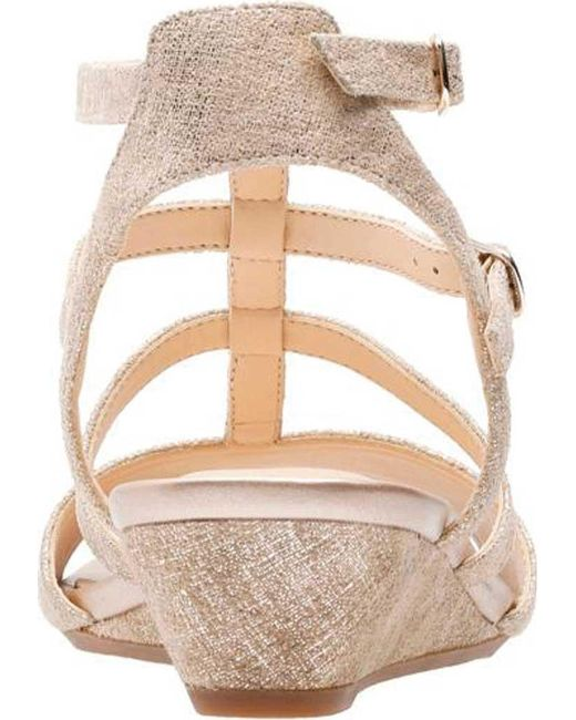 b89b9bab939 Lyst - Clarks Parram Spice Wedge Gladiator Sandal in Metallic - Save 66%