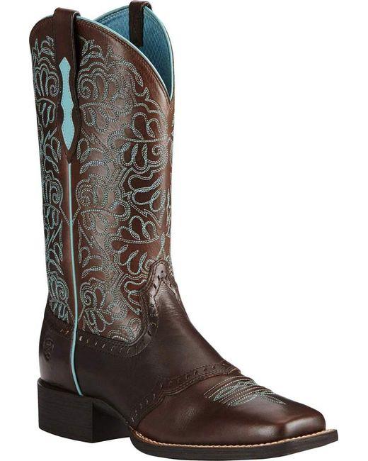 Ariat - Brown Round Up Remuda Cowboy Boot - Lyst