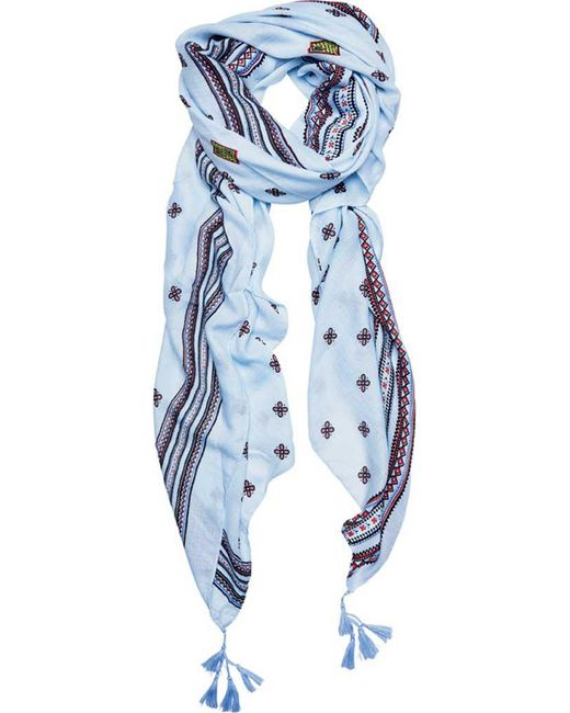 San Diego Hat Company - Blue Woven Flower Print Scarf With Border Bss1726 - Lyst