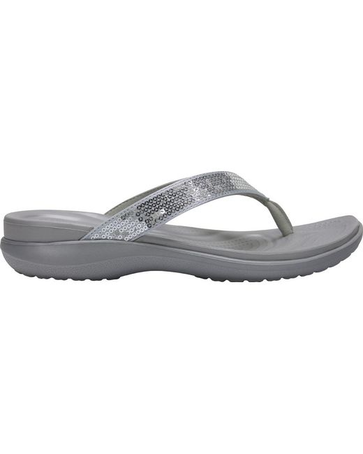 babd34e9ecf7d Lyst - Crocs™ Capri V Sequin Thong Sandal in Metallic - Save 32%