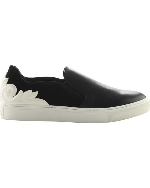 23bc2d74394 Versace - Black Baroque Suede And Leather Slip-on Sneaker for Men - Lyst ...