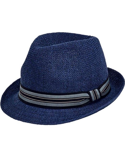 San Diego Hat Company - Blue Striped Grosgrain Knitted Paper Fedora Pbf7327  for Men - Lyst 0d516c51d825