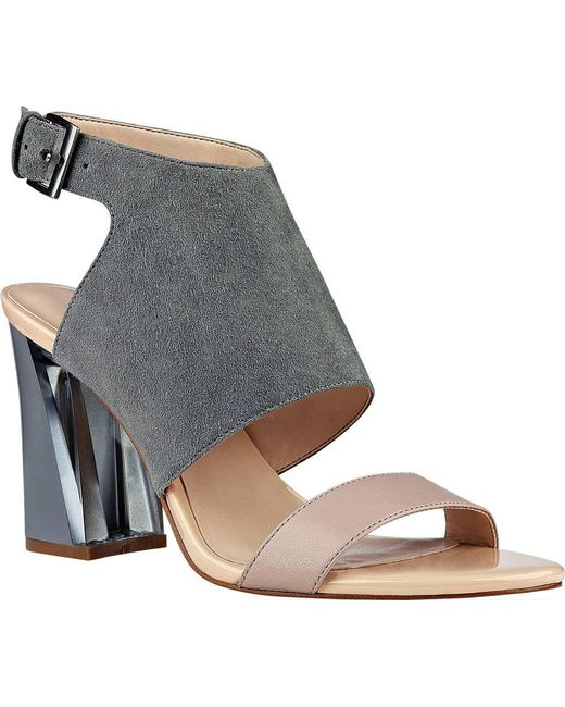 Nine West   Gray Moshpit Block Heel Sandal   Lyst