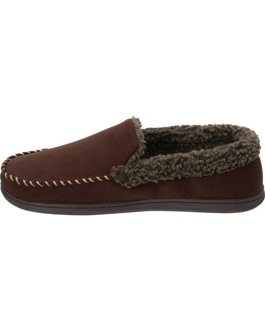 f734868a8b2 Lyst - Dearfoams Microsuede Whipstitch Moccasin Slipper in Brown for ...