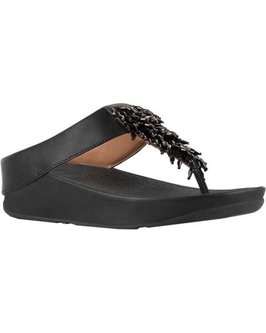 1232a9041c29b7 Fitflop - Black Rumba Wedge Thong Sandal - Lyst ...