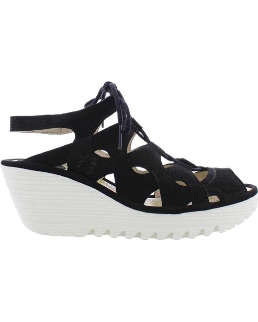 0e1b603fc612 Fly London - Black Yexa916fly Cage Wedge Sandal - Lyst ...