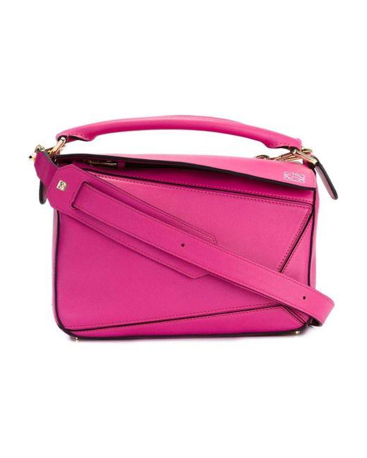 Loewe | Pink Mini Puzzle Leather Cross-Body Bag | Lyst