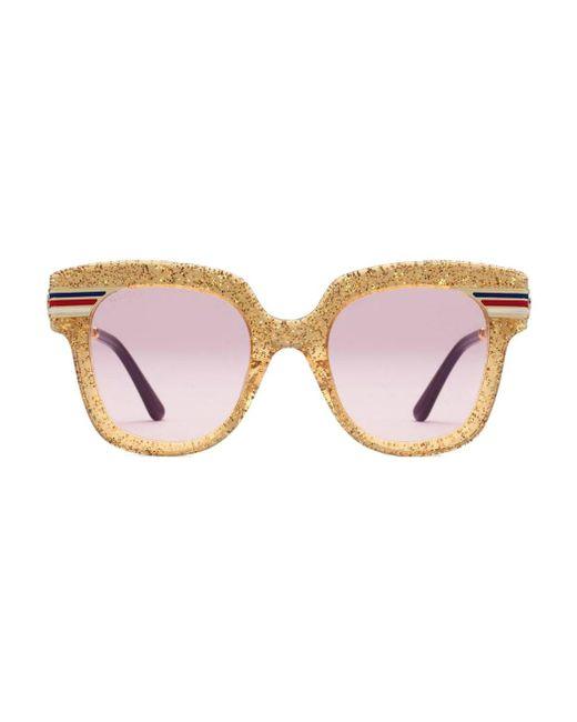 2b74f262d8d Gucci - Multicolor Square-frame Glitter Acetate Sunglasses - Lyst ...