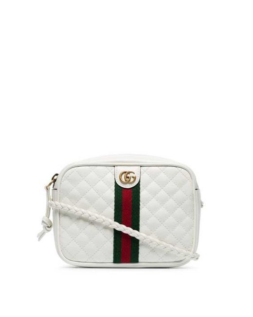 fb74311c7ad Lyst - Gucci Leather Quilted Cross Body Bag in White - Save 25%