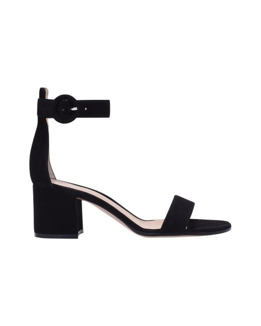 Gianvito Rossi - Black Velvet Sandals - Lyst