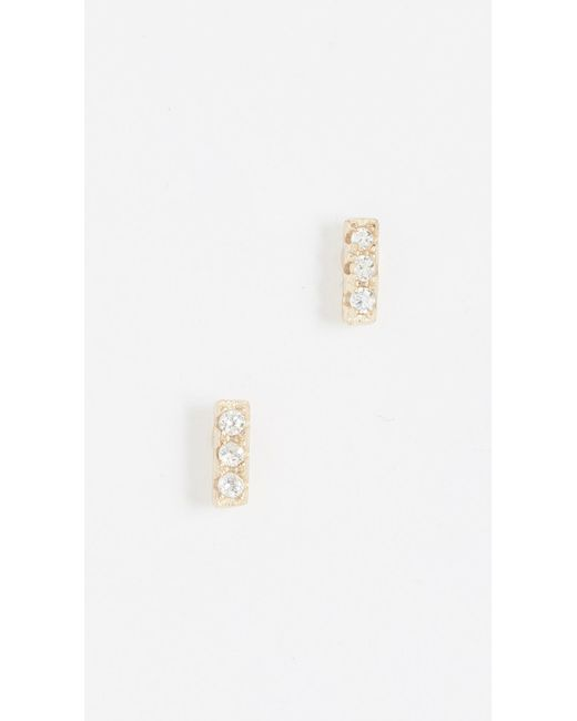 Shashi - Metallic Tiny Bar Earrings - Lyst
