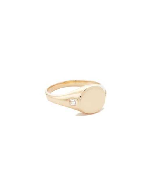 EF Collection - Metallic 14k Diamond Baguette Signet Ring - Lyst