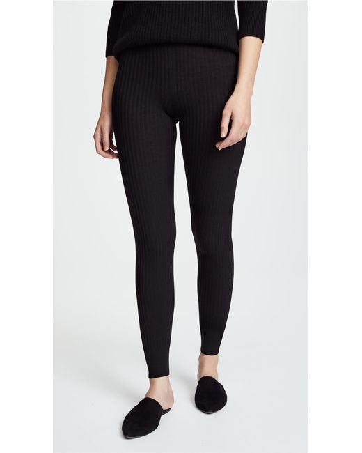 Vince - Black Ribbed Leggings - Lyst