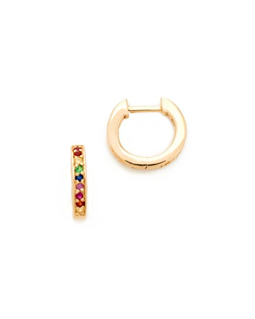 Sydney Evan - Multicolor Small Rainbow Huggie Hoop Earrings - Lyst