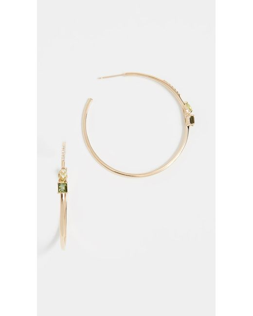 Paige Novick - Metallic 18k Gold Large Open Hoop Earrings With Gemstone Details - Lyst