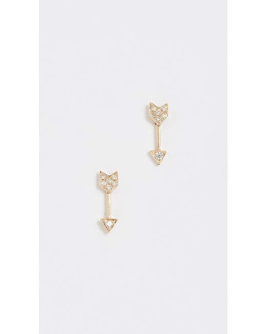 EF Collection | Metallic Diamond Mini Arrow Stud Earrings | Lyst