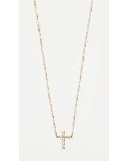 Jennifer Meyer - Metallic Thin Cross Necklace - Lyst