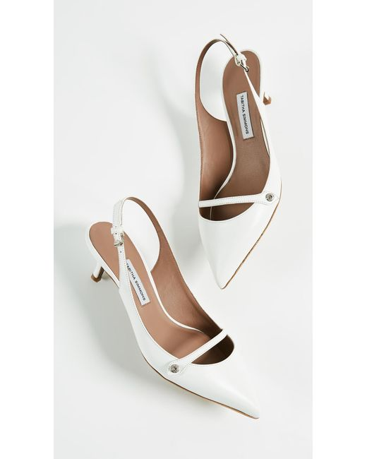 Layton Crystal-embellished Leather Slingback Pumps - White Tabitha Simmons QJJkHnS