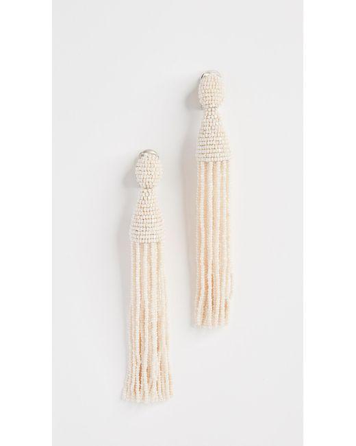 Oscar de la Renta | White Tassel Earrings | Lyst