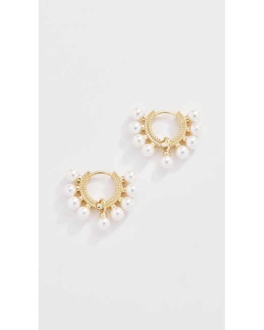 Shashi - Metallic Lola Pearl Huggie Earrings - Lyst