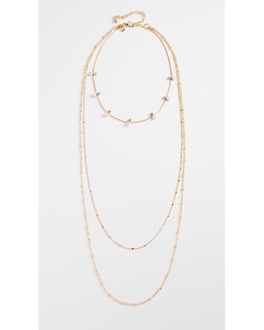 Rebecca Minkoff | Metallic Imitation Pearl And Stone Multi Layer Chain Necklace | Lyst