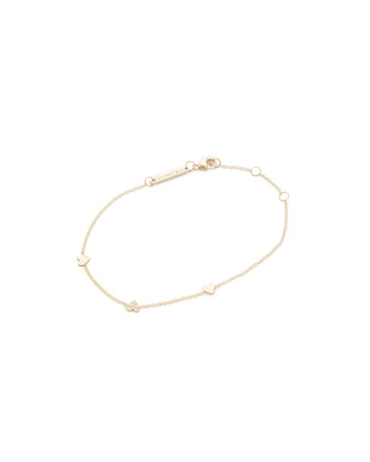 Zoe Chicco | Metallic 14k Gold Heart Chain Bracelet | Lyst
