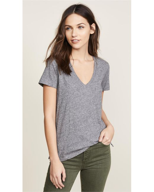 Madewell - Gray Whisper Cotton V Neck Pocket Tee - Lyst