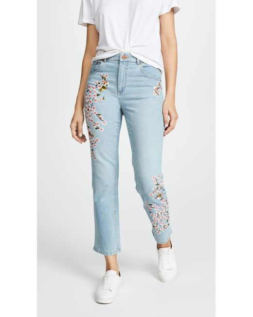 AO.LA by alice + olivia - Blue Amazing Embroidered High Rise Jeans - Lyst