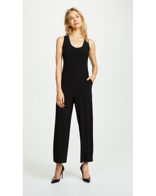 Norma Kamali - Black Cross Back Cropped Jumpsuit - Lyst