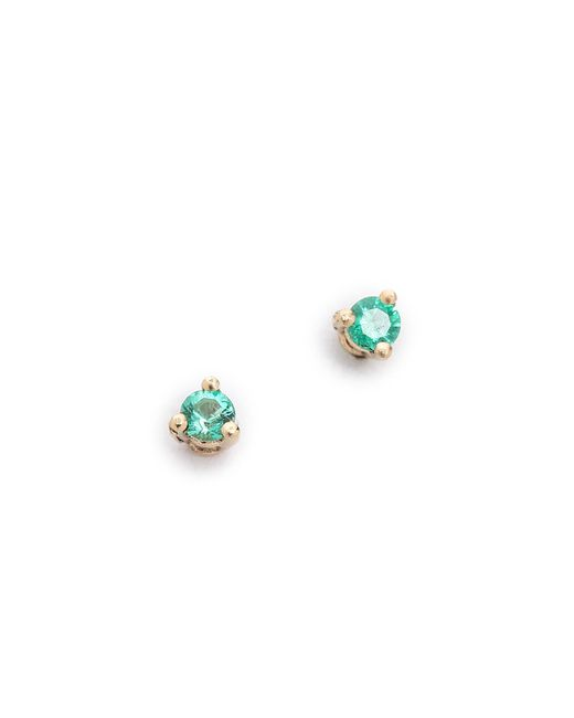 Blanca Monros Gomez - Green Tiny Emerald Stud Earrings - Lyst
