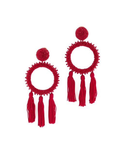 Oscar de la Renta | Red Large Beaded Circle Tassel Clip On Earrings | Lyst