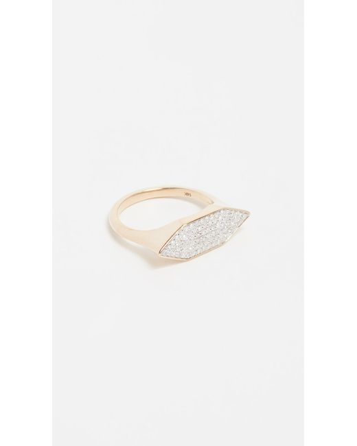 Adina Reyter - Metallic 14k Gold Pave Stretched Hexagon Signet Ring - Lyst