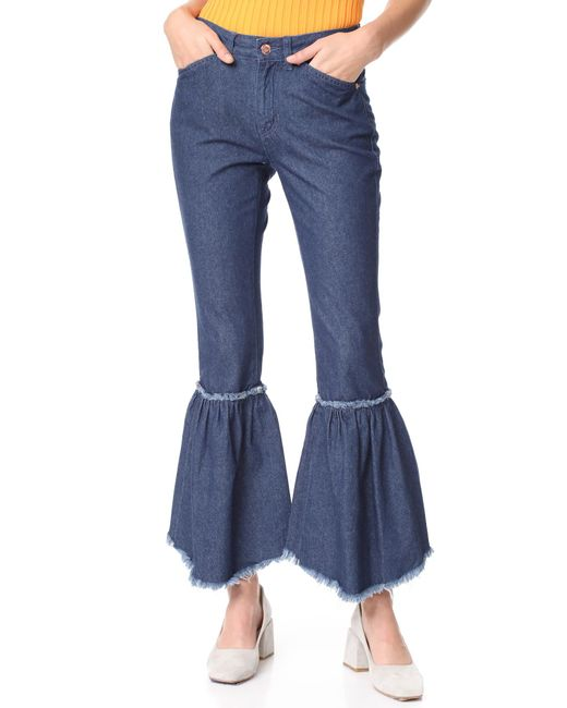 SJYP - Blue Bottom Bias Cutoff Jeans - Lyst