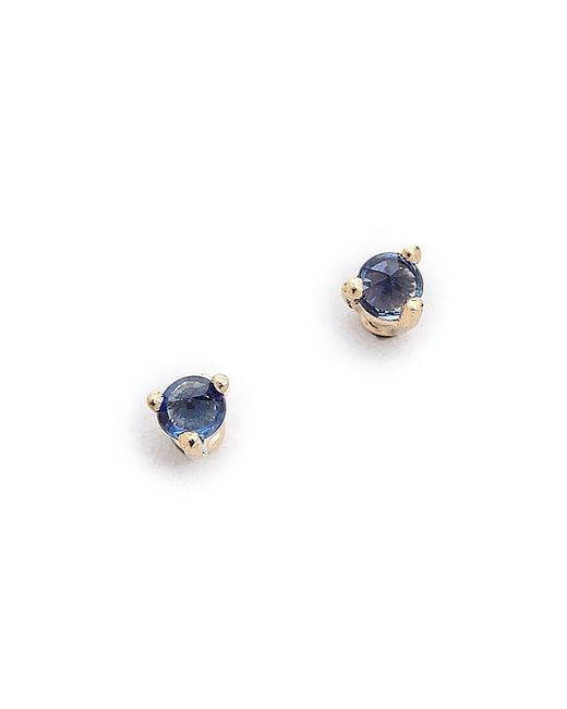 Blanca Monros Gomez - Blue Tiny Sapphire Stud Earrings - Lyst