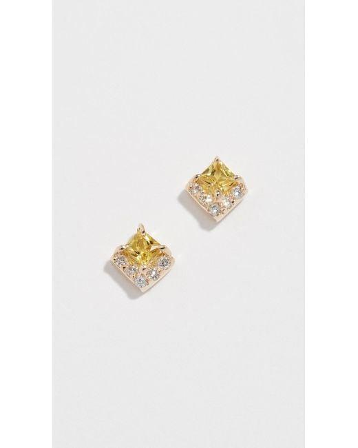 Eden Presley - Metallic Diamond Box Stud Earrings - Lyst