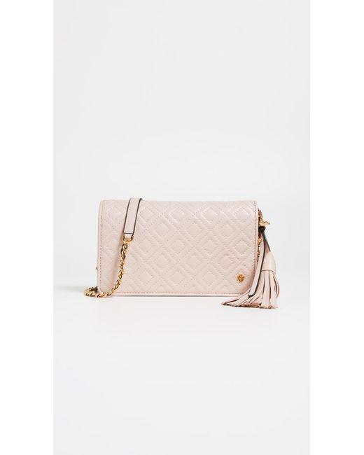 f3ad414b4e0 Tory Burch - Pink Fleming Flat Wallet Cross Body Bag - Lyst ...