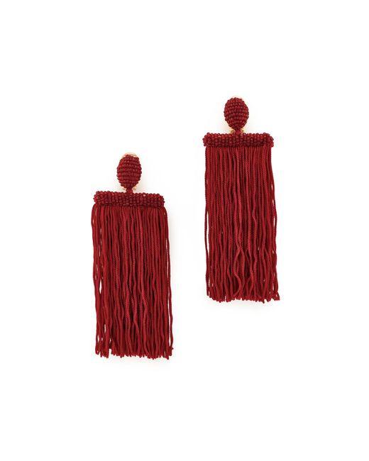 Oscar de la Renta   Red Long Silk Waterfall Tassel Clip On Earrings   Lyst