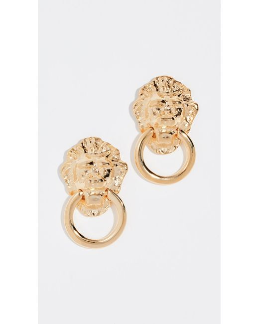 Kenneth Jay Lane - Metallic Polished Lion Head Doorknocker Earrings - Lyst