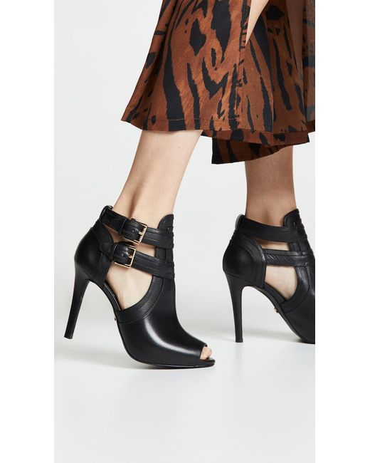 ... MICHAEL Michael Kors - Black Women s Blaze Open-toe Leather High-heel  Booties ... f06b3e8396e
