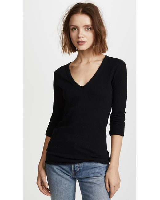Enza Costa - Black Cuffed V Top - Lyst