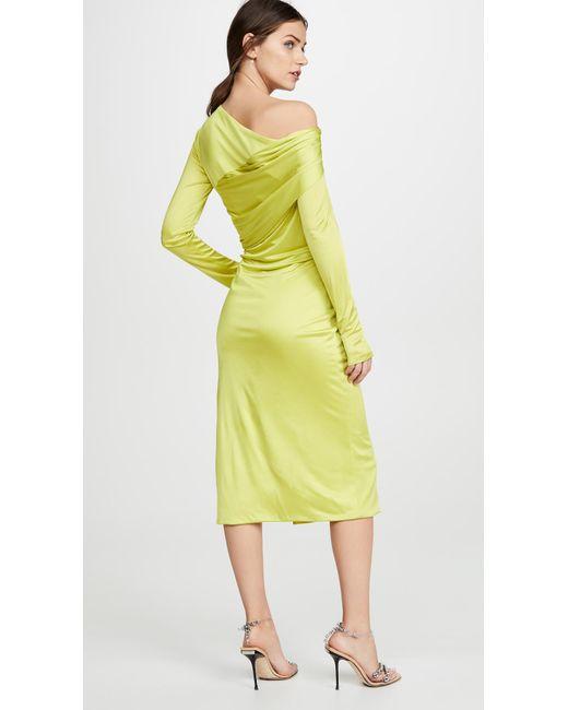 cc76d6946039 ... Versace - Yellow Off Shoulder Dress - Lyst ...