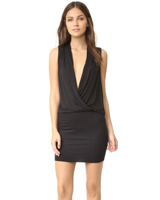 Lanston | Black Surplice Mini Dress | Lyst