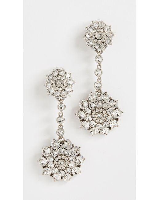 Oscar de la Renta - Metallic Classic Jeweled Drop Earrings - Lyst