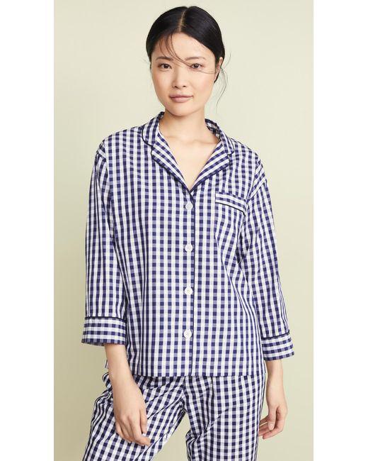 ec6d9003084c6 Sleepy Jones Gingham Marina Pajama Shirt in Blue - Save 44% - Lyst