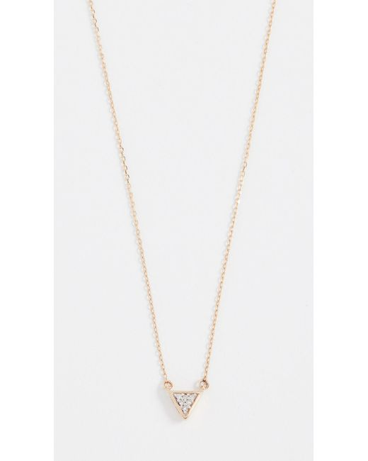 Adina Reyter - Metallic Super Tiny Solid Pave Triangle Necklace - Lyst