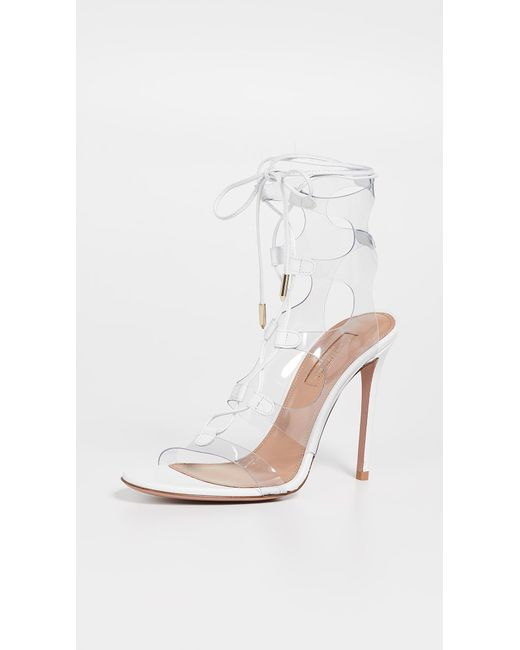 c33e3b3054e Aquazzura - White Milos 105mm Sandals - Lyst ...