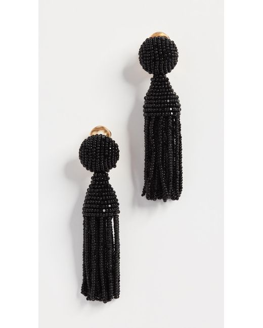 Oscar de la Renta - Black Classic Short Tassel Earrings - Lyst