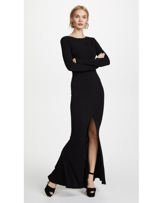 Lyst - Rachel Zoe Long Sleeve Gown in Black