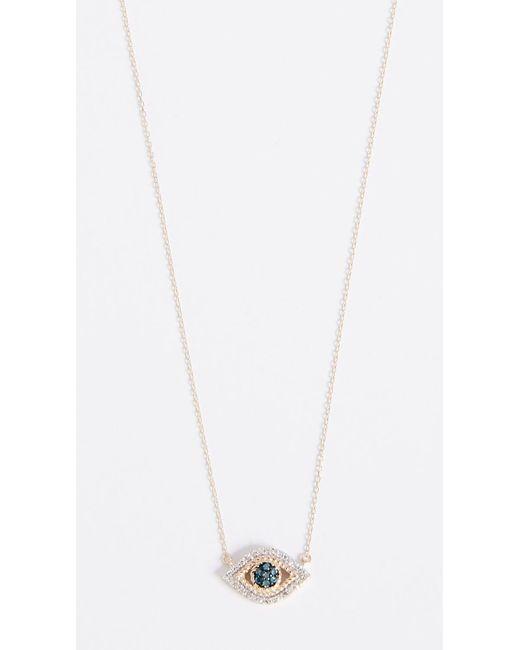 Adina Reyter - Metallic 14k Gold Tiny Pave Evil Eye Necklace - Lyst