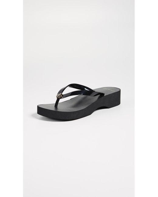 Tory Burch - Black Cutout Wedge Flip Flops - Lyst
